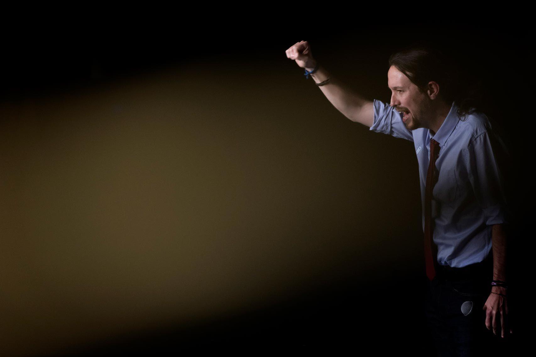 Pablo Iglesias, durante un mitín de campaña en estas elecciones.