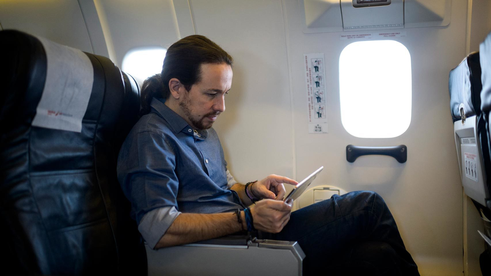 Pablo Iglesias, durante su viaje a Cantabria en estas elecciones.