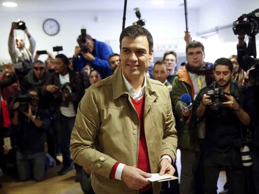 Sánchez al ir a votar.