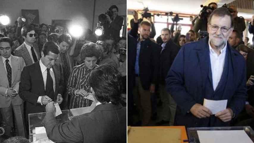 Adolfo Suárez y Mariano Rajoy depositando su voto en las urnas.