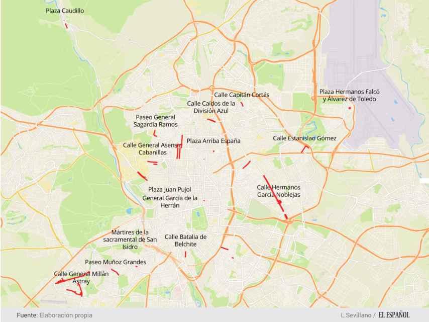 Algunas de las calles que serán renombradas en Madrid