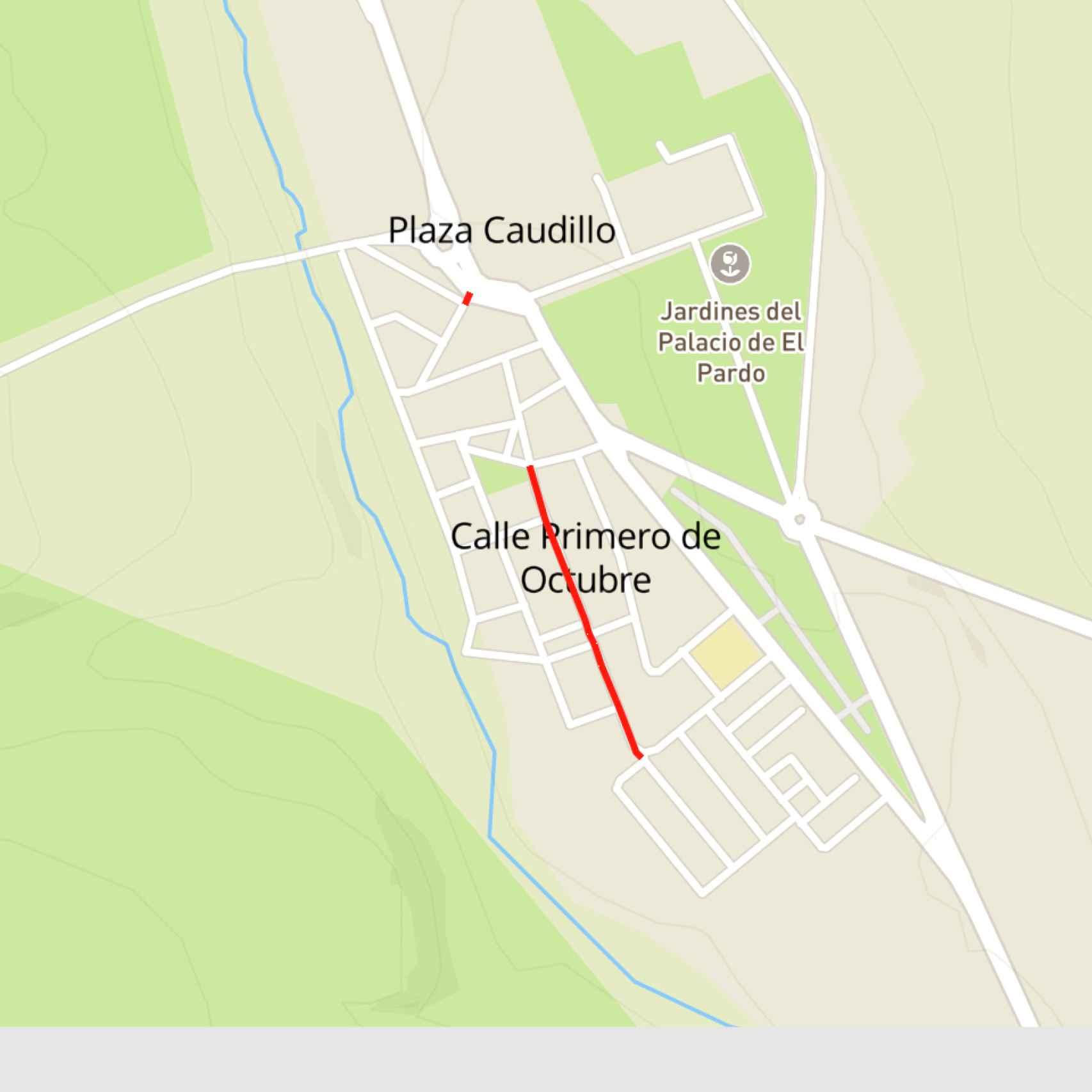 Mapa de El Pardo con las dos calles anuladas.