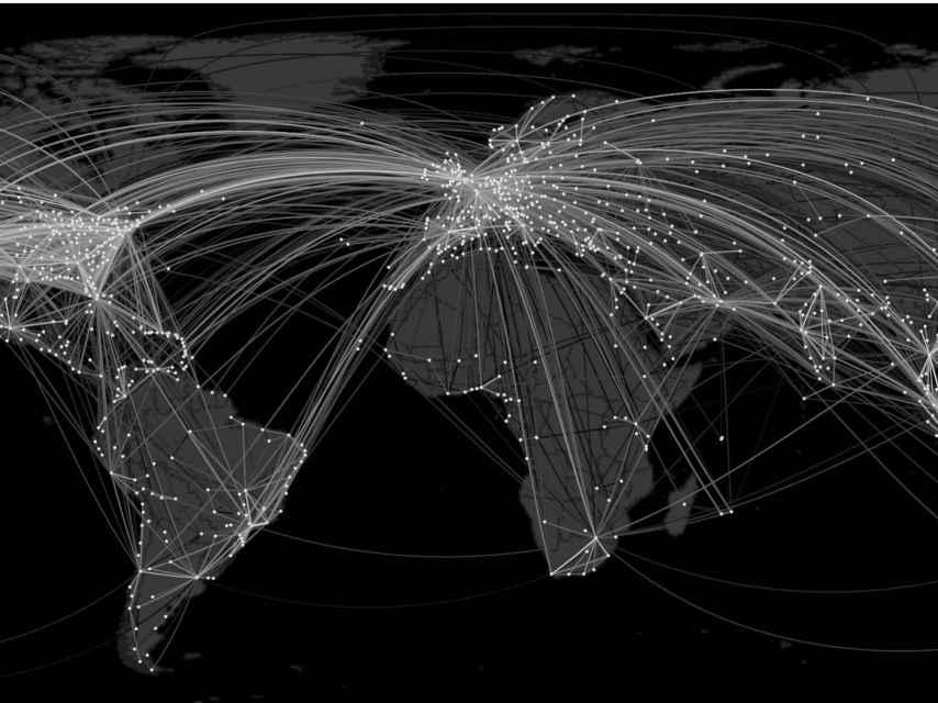 Simulación por ordenador de rutas de una pandemia.