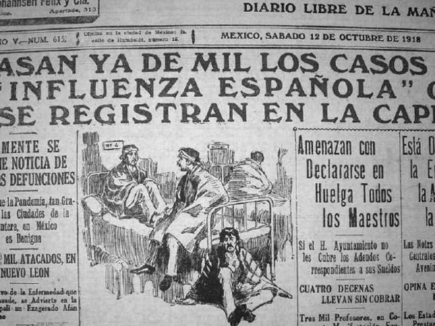 Pandemia de gripe española en 1918.