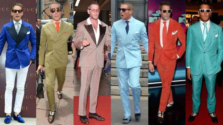Lapo Elkann con trajes de solapa ancha y sus inseparables gafas Italia Independent