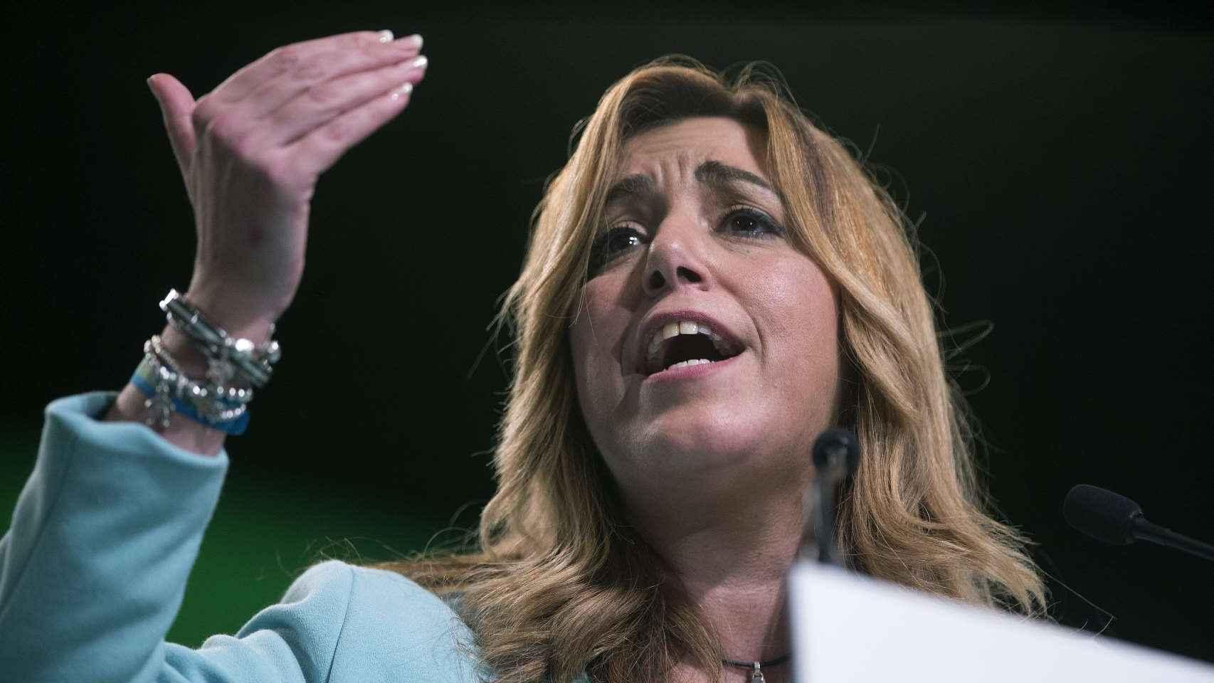 La presidenta de la Junta de Andalucía, Susana Díaz, durante un mitin en Málaga