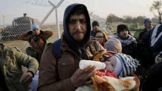 Refugiados en la frontera de Grecia y Macedonia.