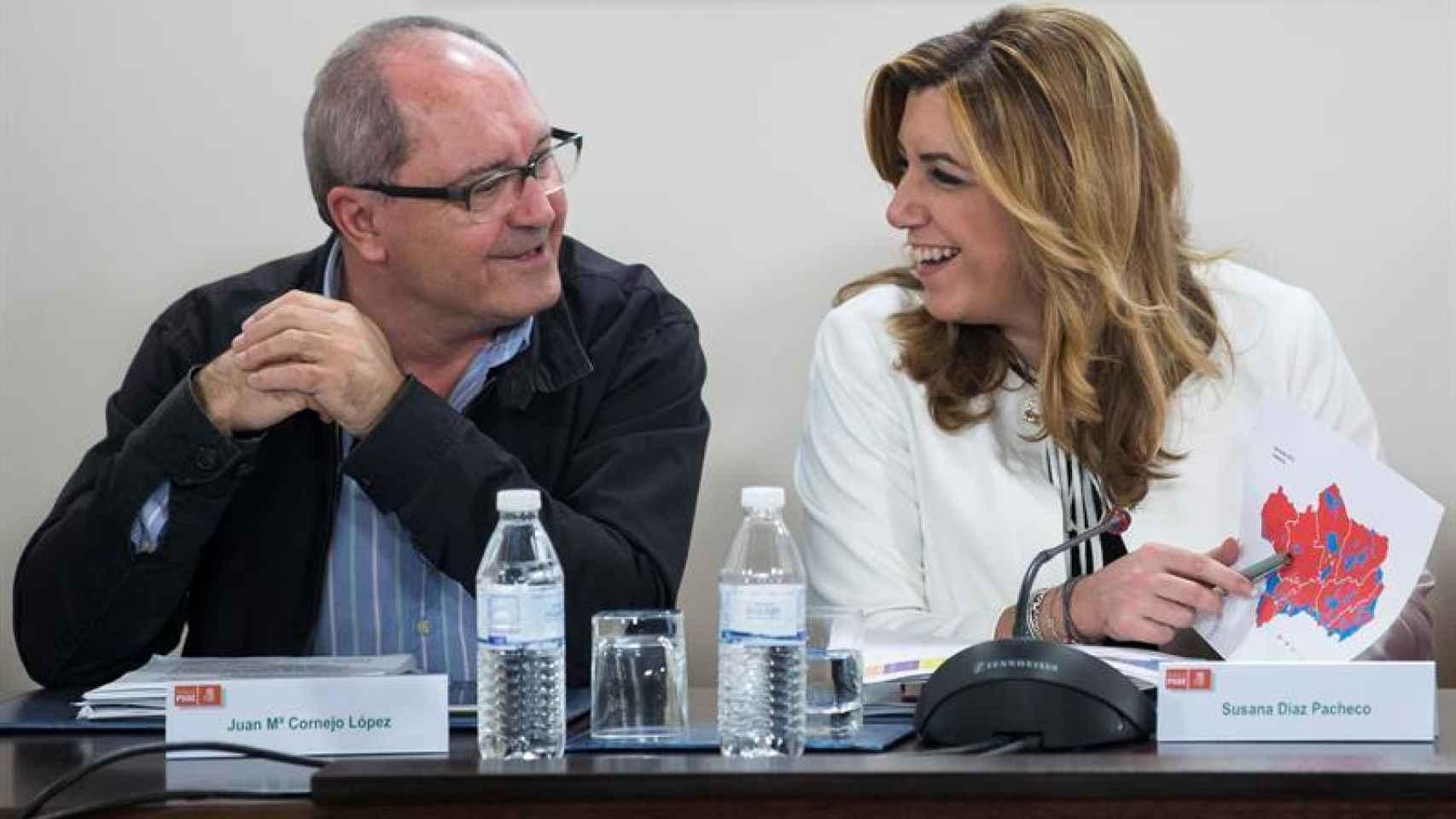 Susana Díaz junto a Juan Cornejo el día después de las elecciones