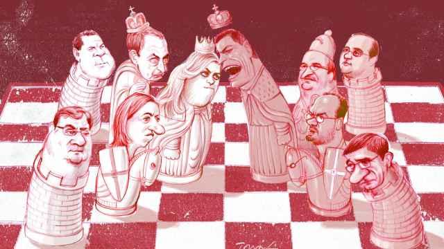 El ajedrez del PSOE y sus dos bandos. Ilustración: Tomás Serrano