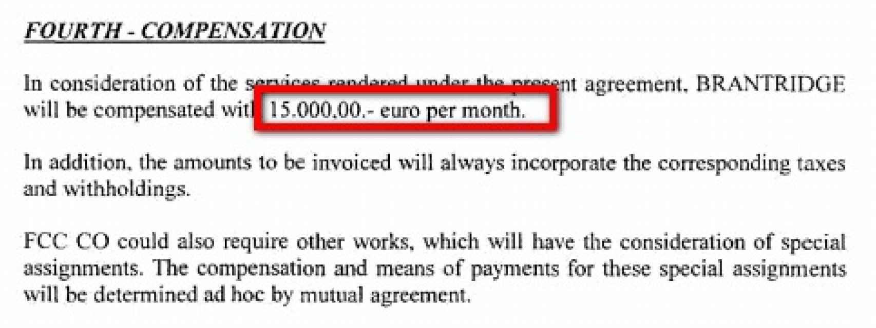 El contrato entre FCC y la empresa de los Pujol establece pagos mensuales de 15.0000 euros.