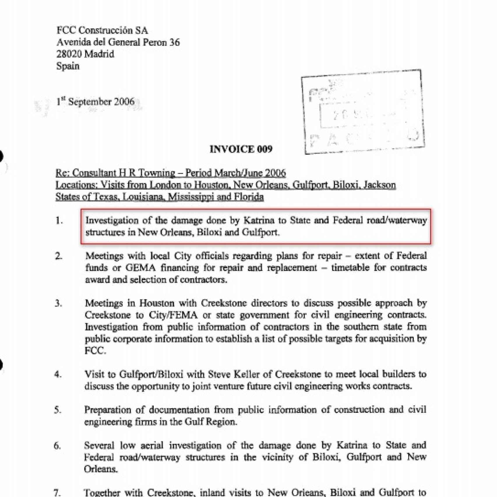 Factura de 35.000 dólares de Brantridge a FCC por investigar los daños del Katrina.