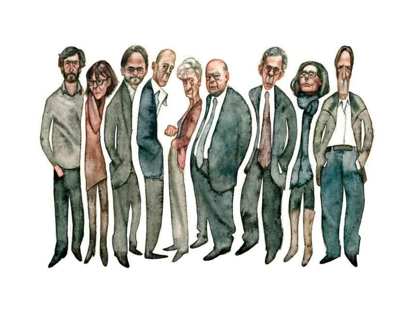 Los nueve miembros de la familia Pujol, con el expresidente catalán y su mujer en el centro. / Carlos Rodríguez Casado