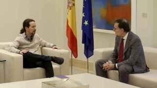Mariano Rajoy y Pablo Iglesias durante la reunión que han celebrado hoy en el Palacio de La Moncloa