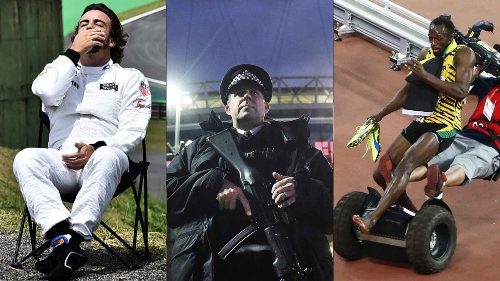 Fernando Alonso, un guarda durante el Inglaterra Francia y Usain Bolt.