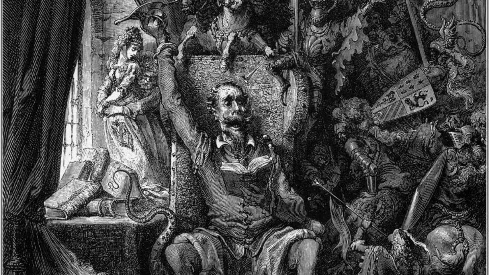 Don Quijote, entre sus libros, en la edición ilustrada por Doré de 1863