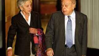 El expresidente Jordi Pujol, junto a su mujer Marta Ferrusola, tras declarar
