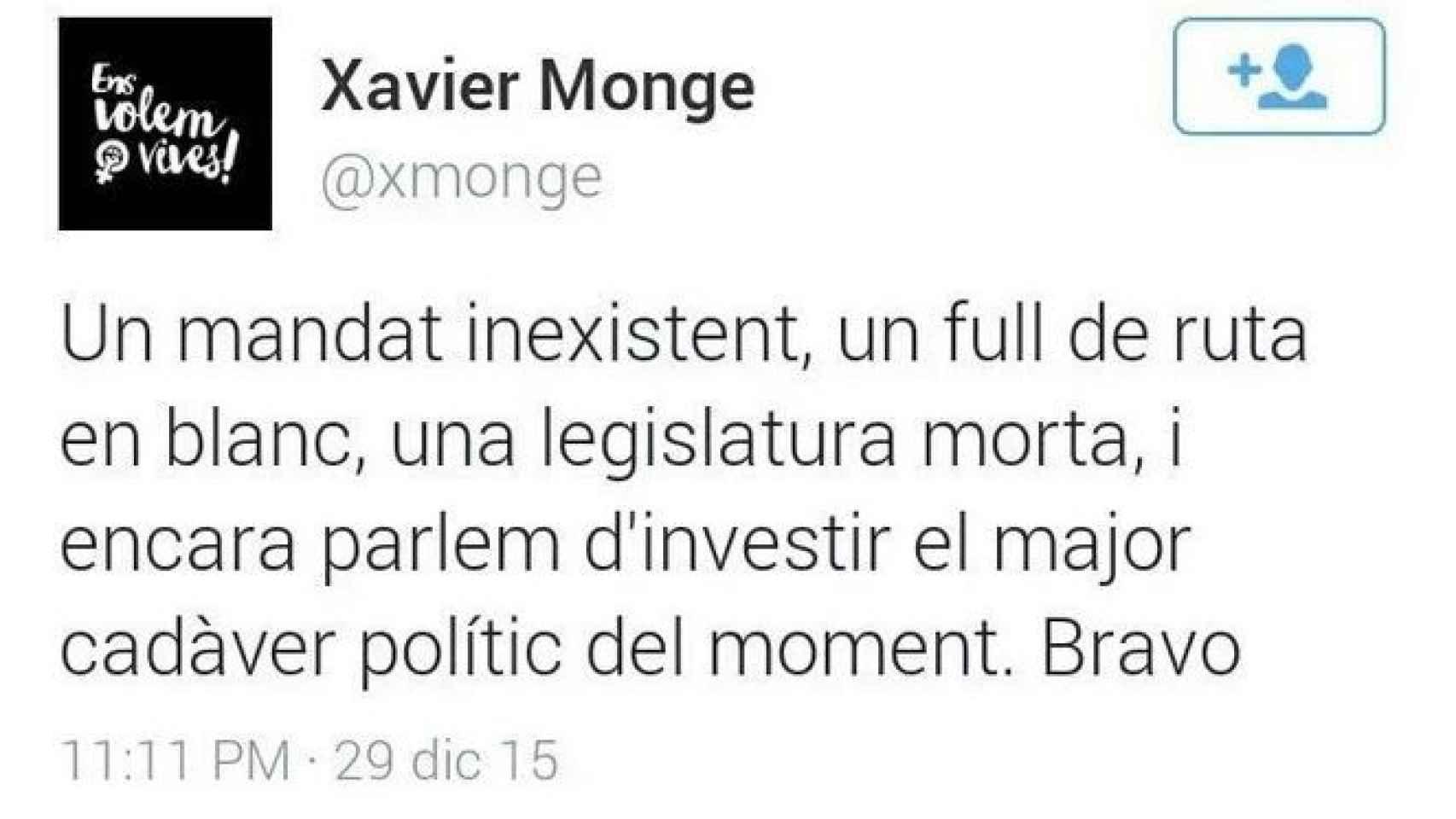 Monge define a Mas como 'un cadáver político'