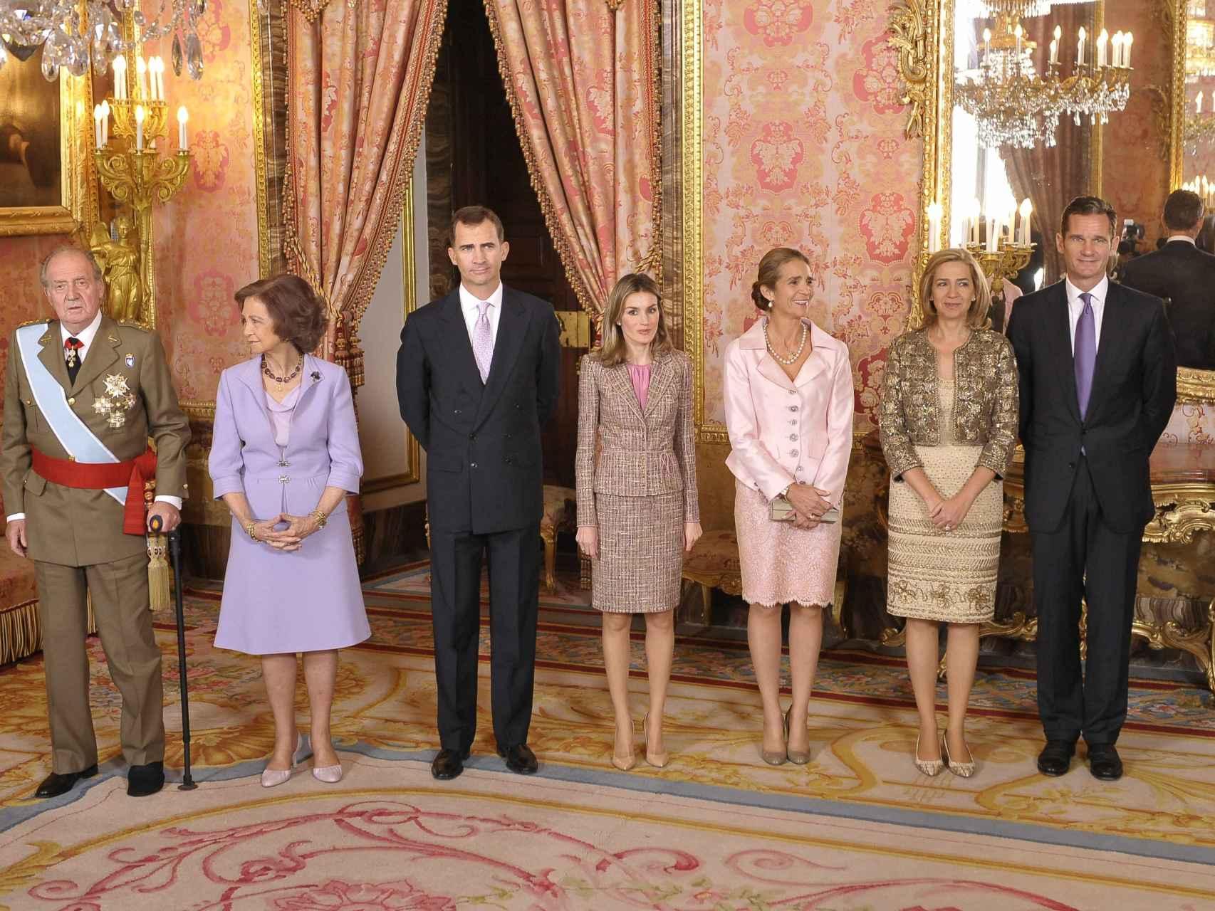 La Familia Real con los Duques de Palma en el día de la Hispanidad de 2011.