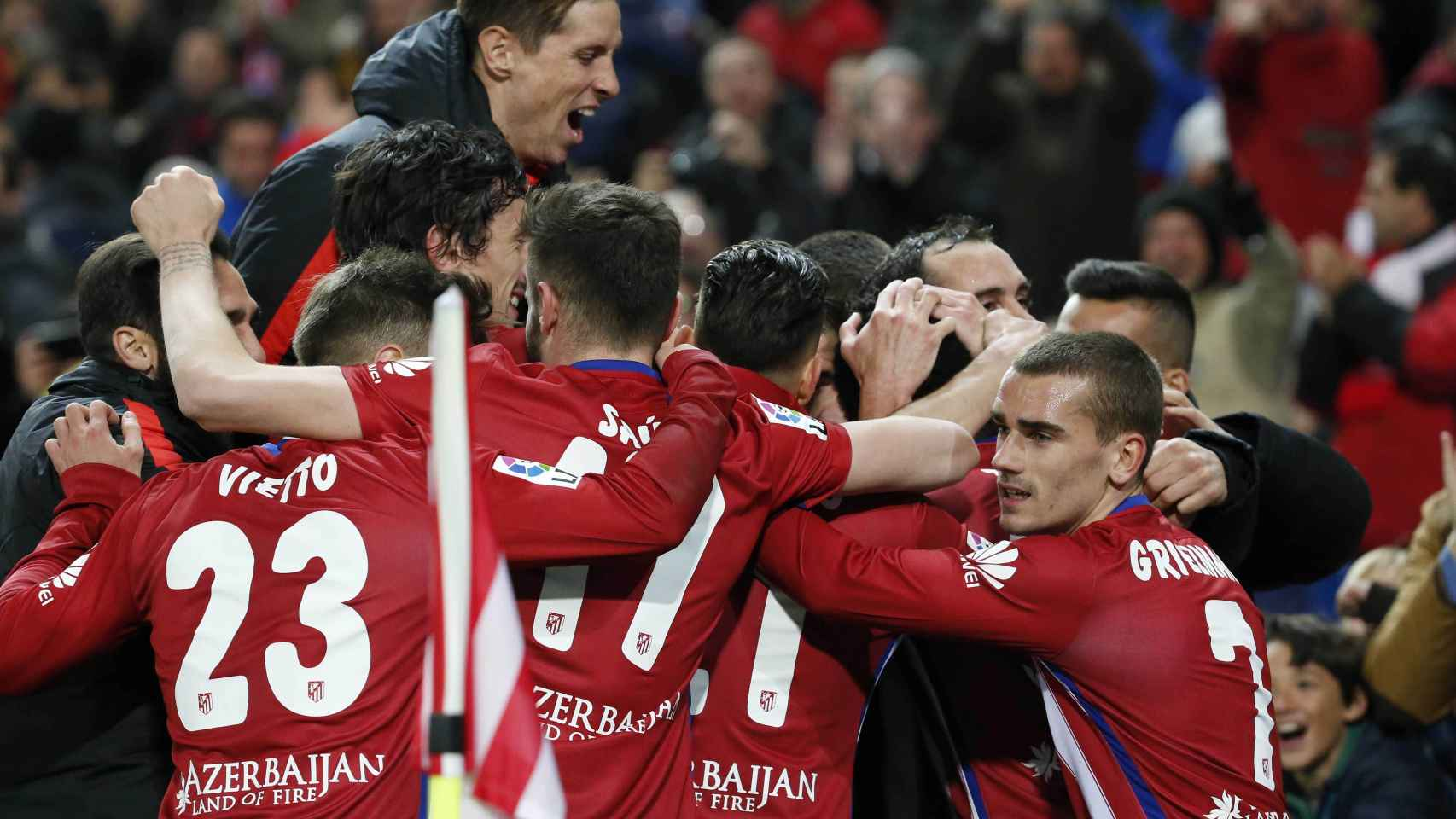 El Atlético celebra el gol de Thomas