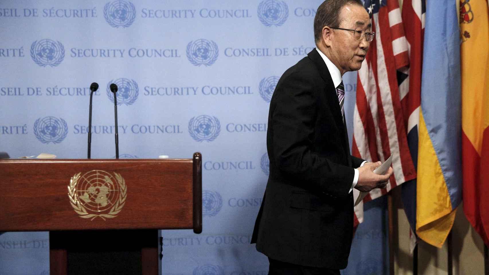 Ban Ki-moon, al término de su lectura del comunicado