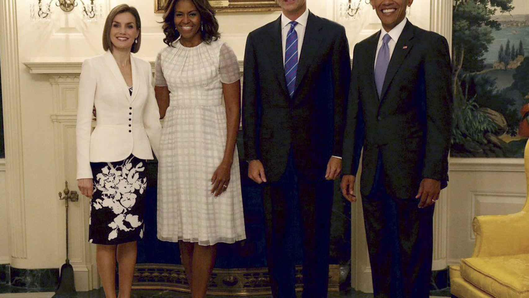 Doña Letizia, Michelle y Barack Obama, el Rey Felipe VI en su visita a los EE.UU