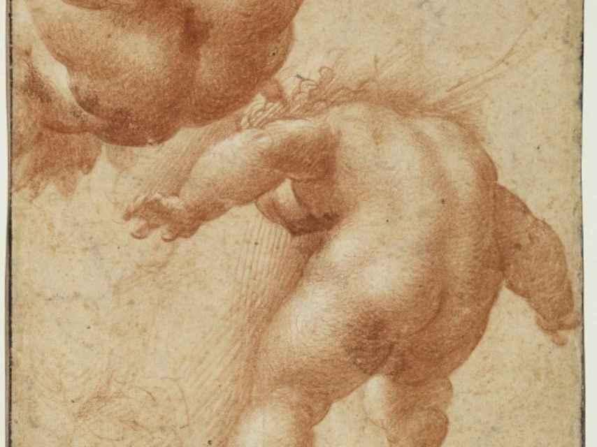 Fragmento de los dos putti volantes de Parmigianino, boceto en el Louvre.