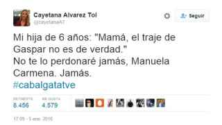 El mensaje de Cayetana Álvarez de Toledo en Twitter