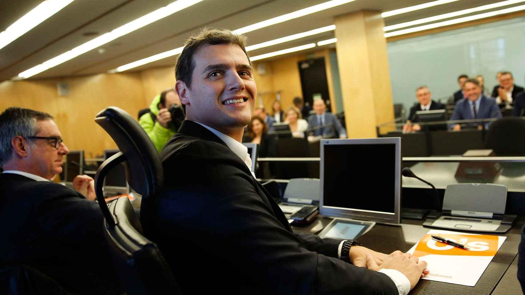 Rivera, durante la primera reunión de Ciudadanos en el Congreso.