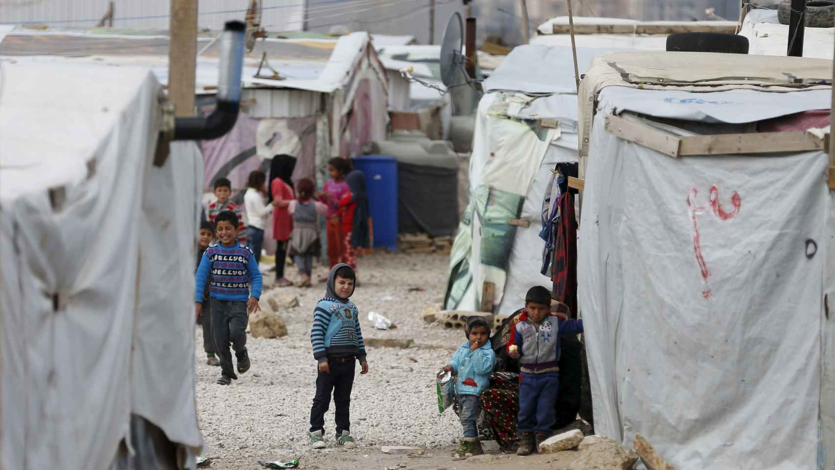Un campamento de refugiados improvisado en Líbano.