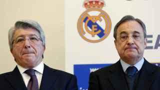 Los presidentes del Atlético de Madrid y Real Madrid, Enrique Cerezo y Florentino Pérez