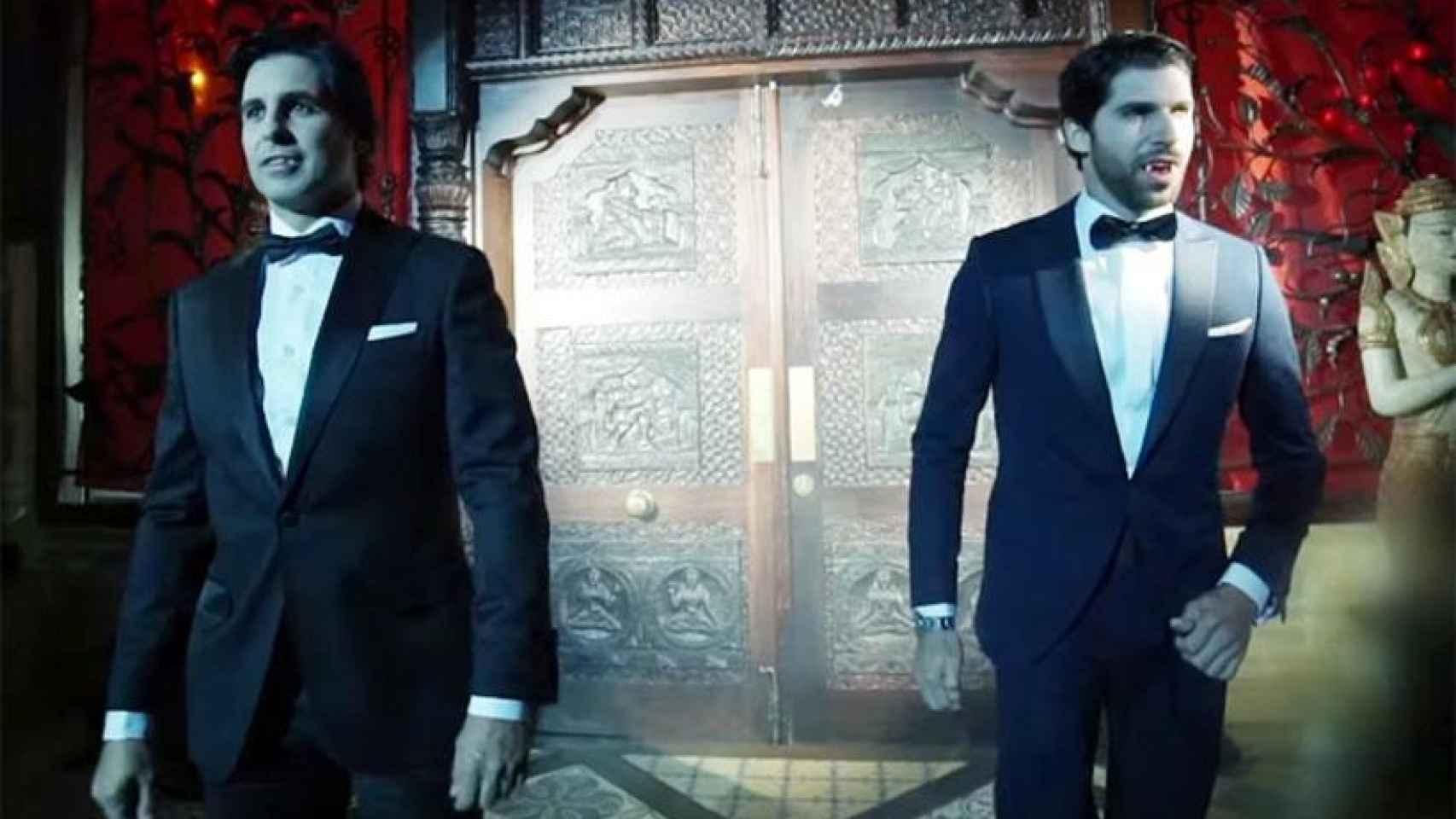 Fran y Cayetano Rivera disfrazados de vampiros para el videoclip de Kiko Rivera