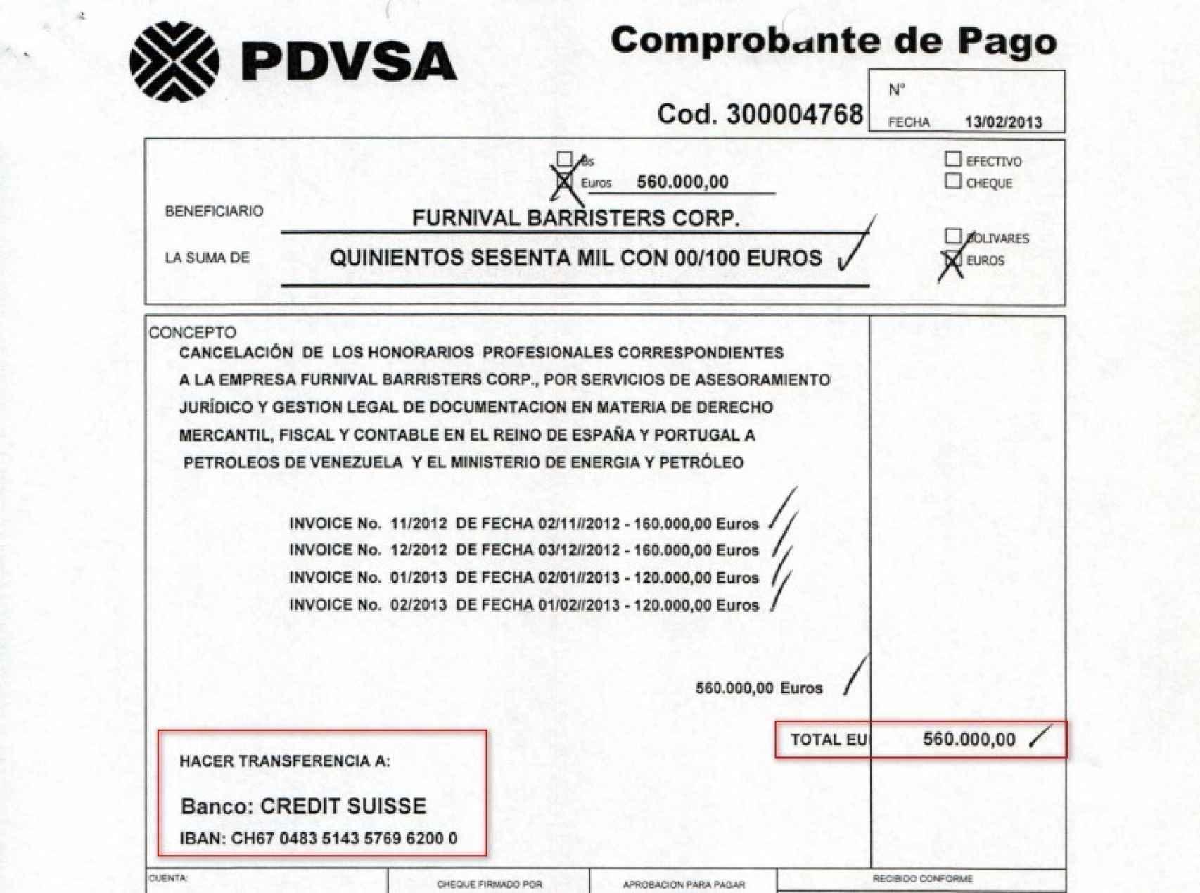 Orden de pago de la petrolera venezolana para enviar el dinero a Suiza.