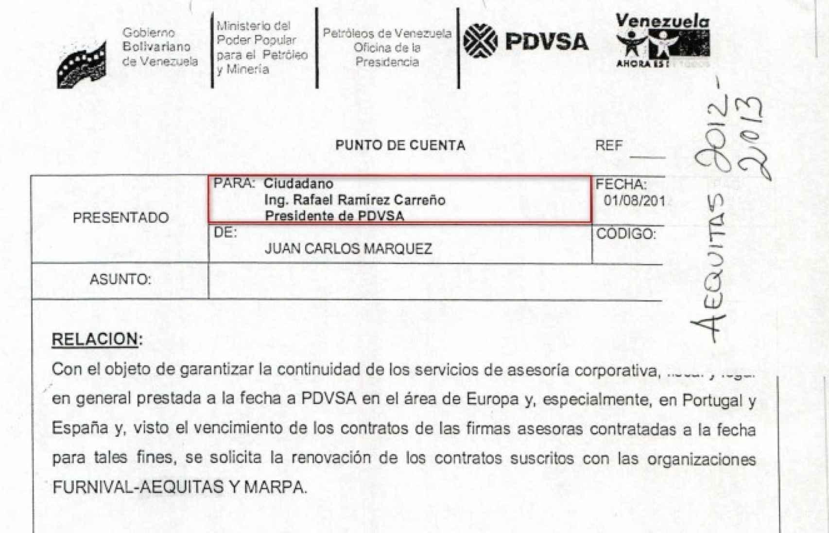Renovación del contrato entre las empresas de Alejo Morodo y PDVSA.