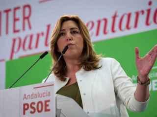 Susana Díaz este lunes en la sede del partido en Sevilla