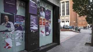 Carteles de Podemos en el distrito del Retiro