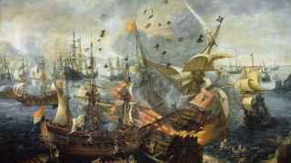 Batalla de Gibraltar (1607) Óleo de Cornelis Claesz van Wieringen.