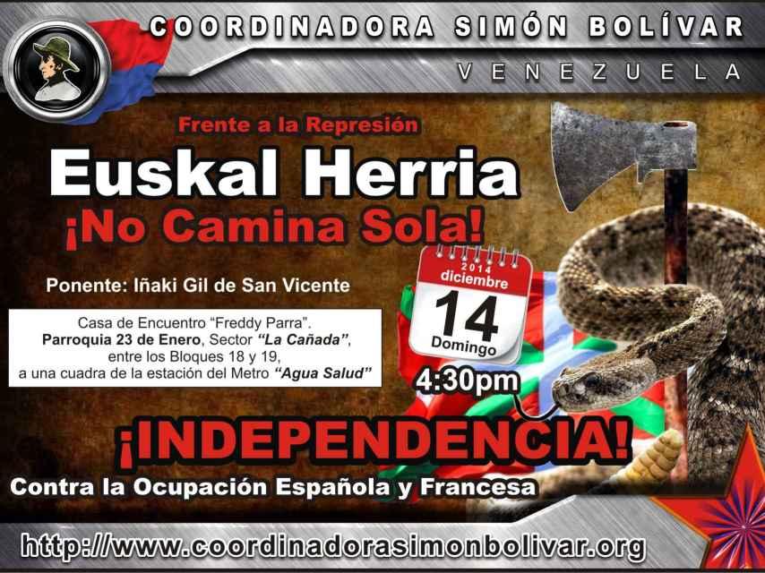 Cartel promocional del acto a que acudieron responsables de Podemos y la CUP.