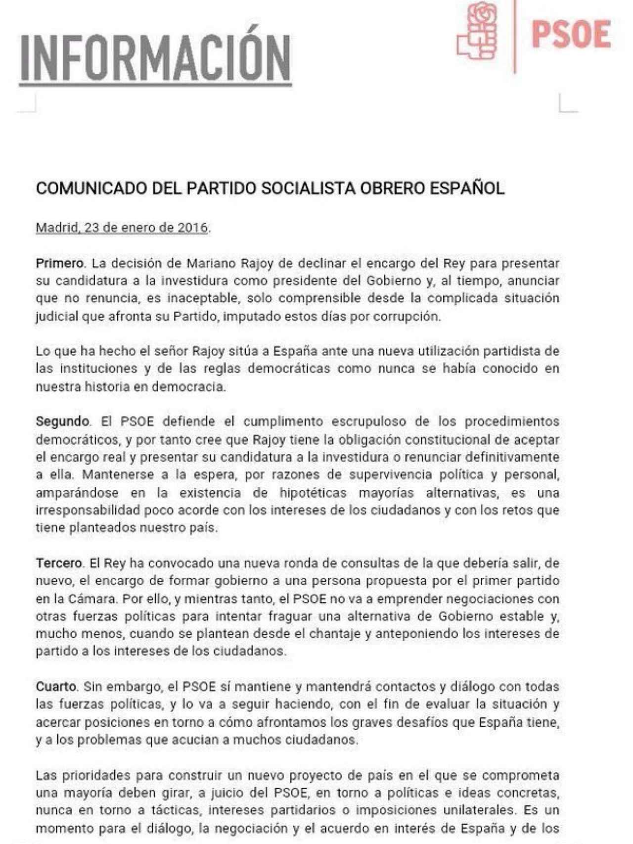 Comunicado del PSOE.