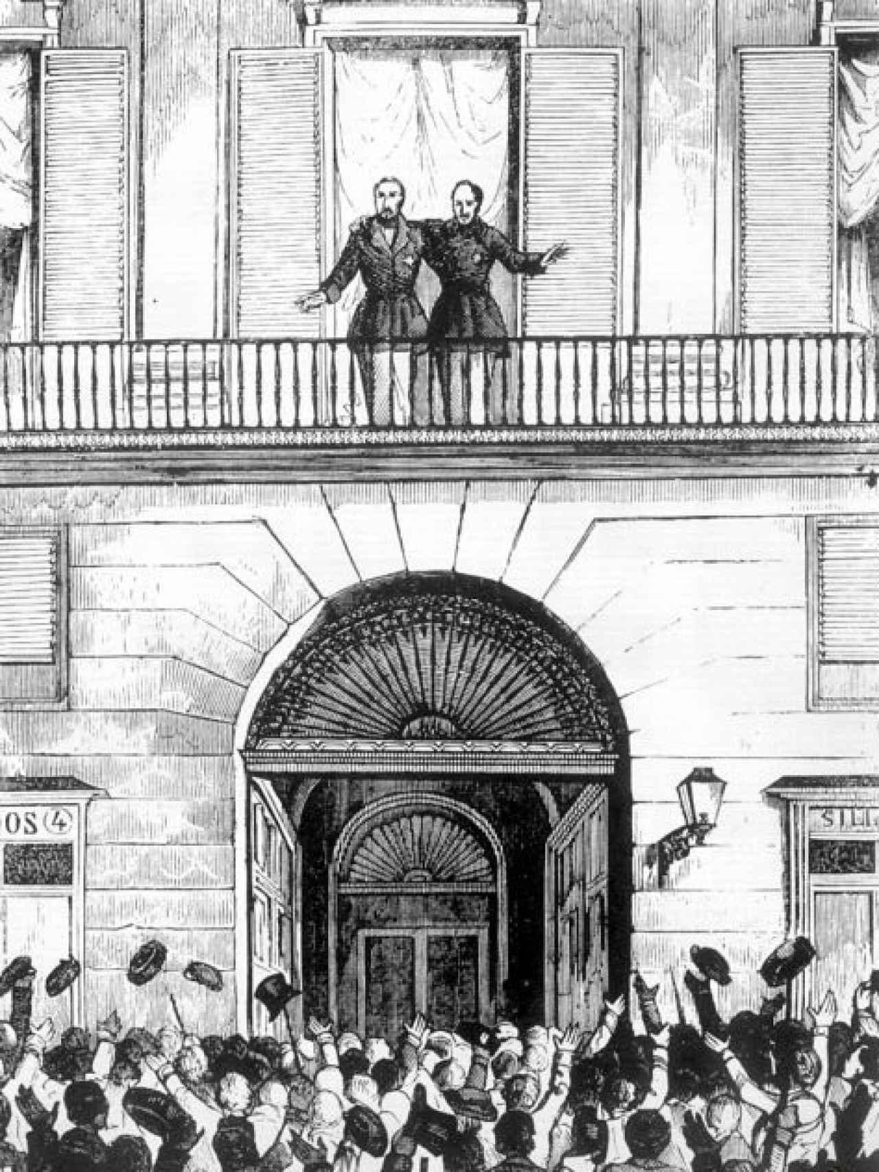 ODonnell y Espartero aclamados en Madrid en julio de 1854.