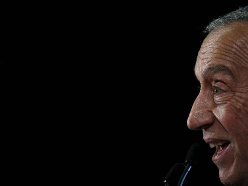 Marcelo Rebelo de Sousa en un acto de campaña en Lourinha.