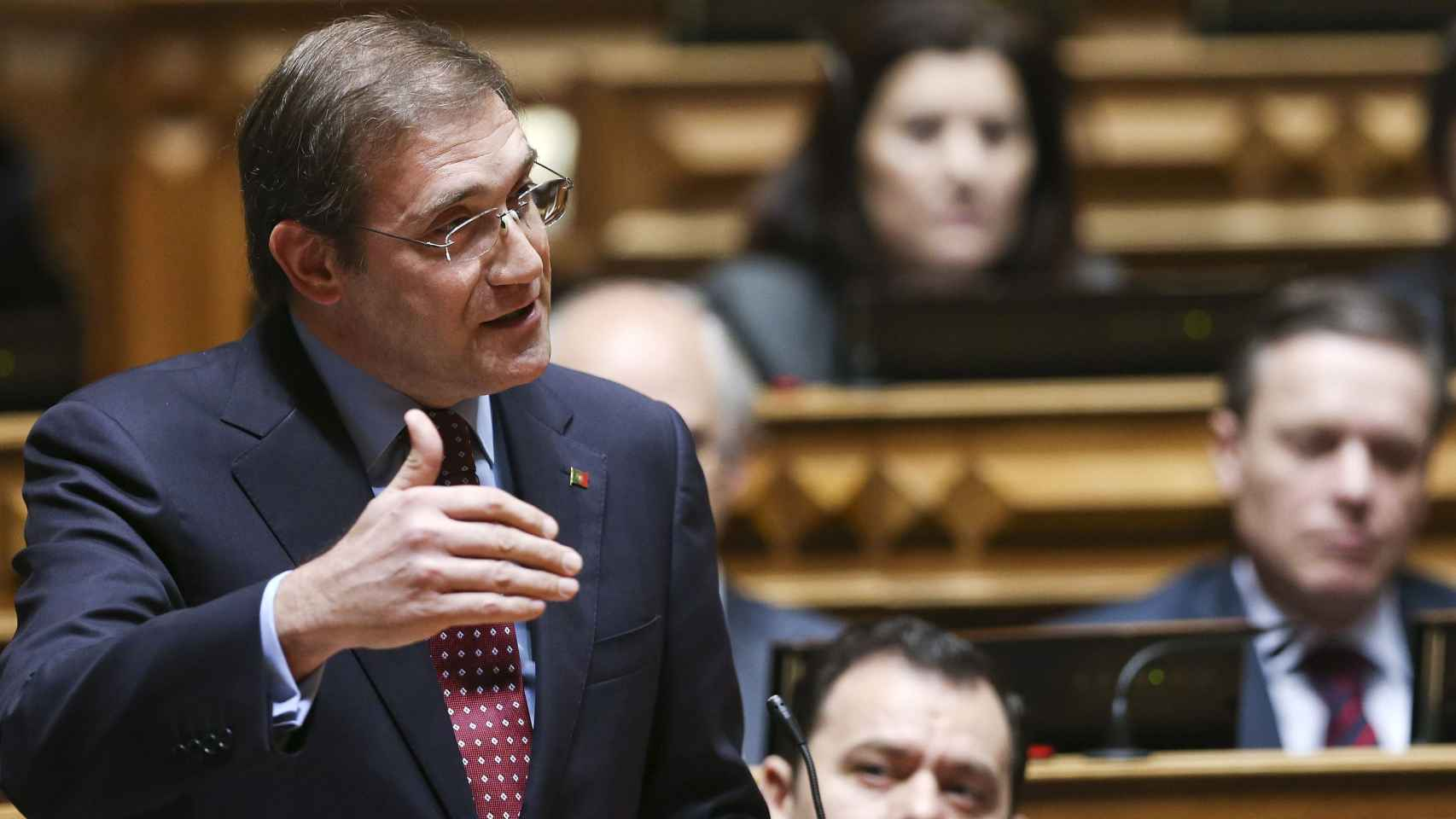 Pedro Passos Coelho en el debate del Parlamento portugués.