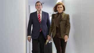 El líder del PP, Mariano Rajoy, y la secretaria general, María Dolores de Cospedal.