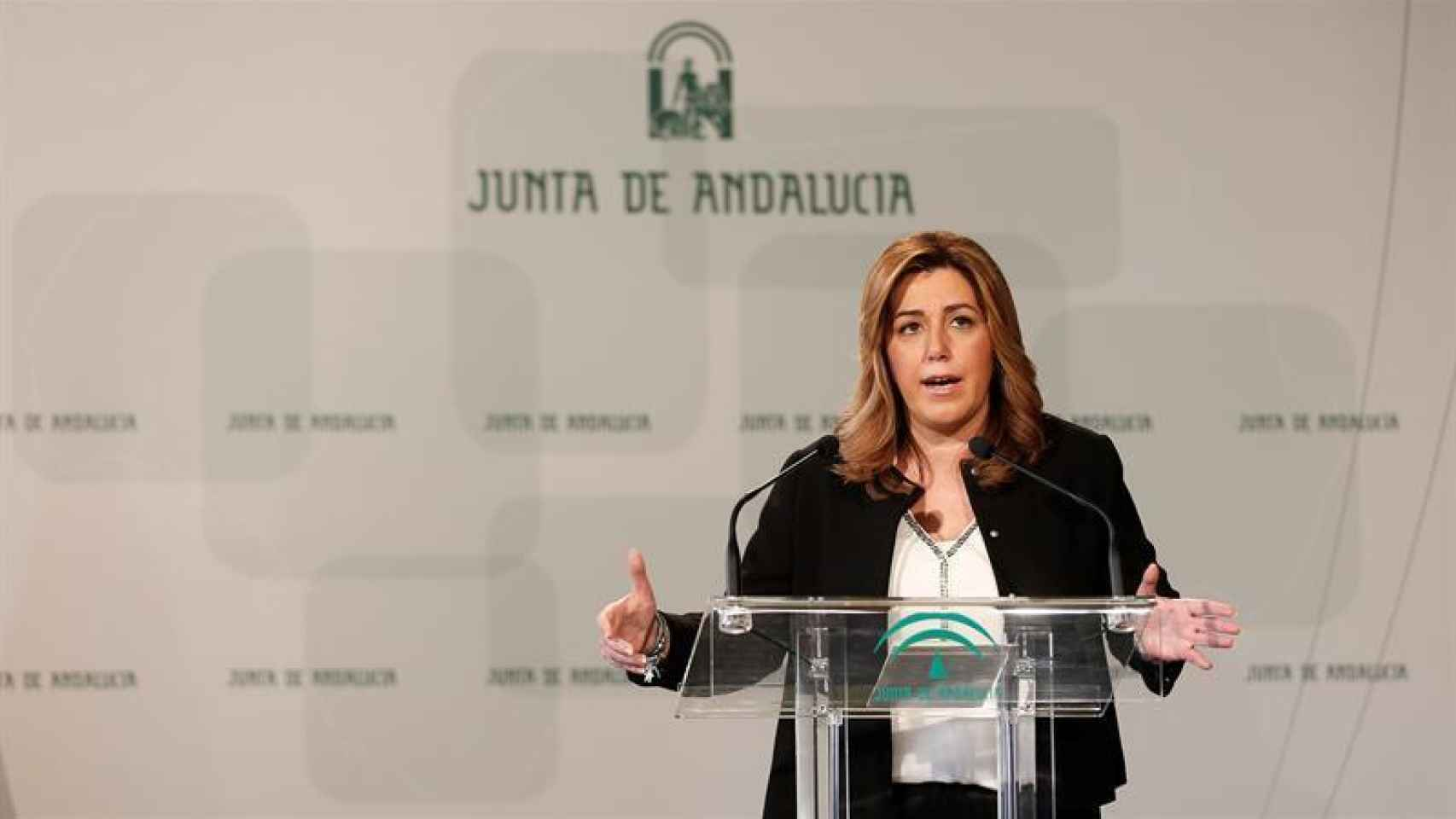 La presidenta andaluza, Susana Díaz, este martes el Palacio de San Telmo en Sevilla.