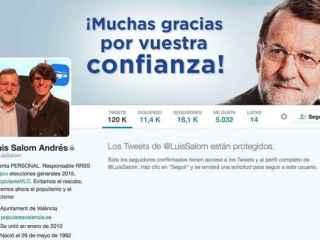 El perfil protegido de Luis Salom en Twitter.
