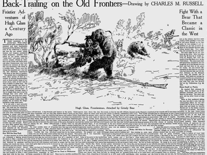 Un siglo después de la historia de Hugh Glass, el Milwaukee Journal publicó un artículo recogiendo sus hazañas.