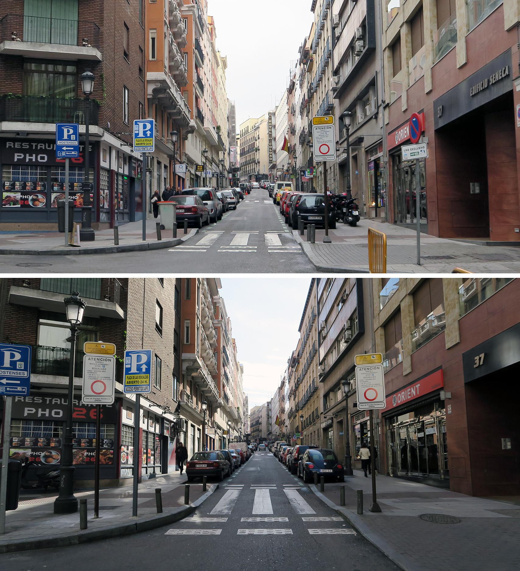 Antes (28/01/2016) y después (30/01/2016) en la señalización en la calle Leganitos