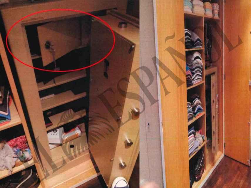 La caja de seguridad dentro del armario.