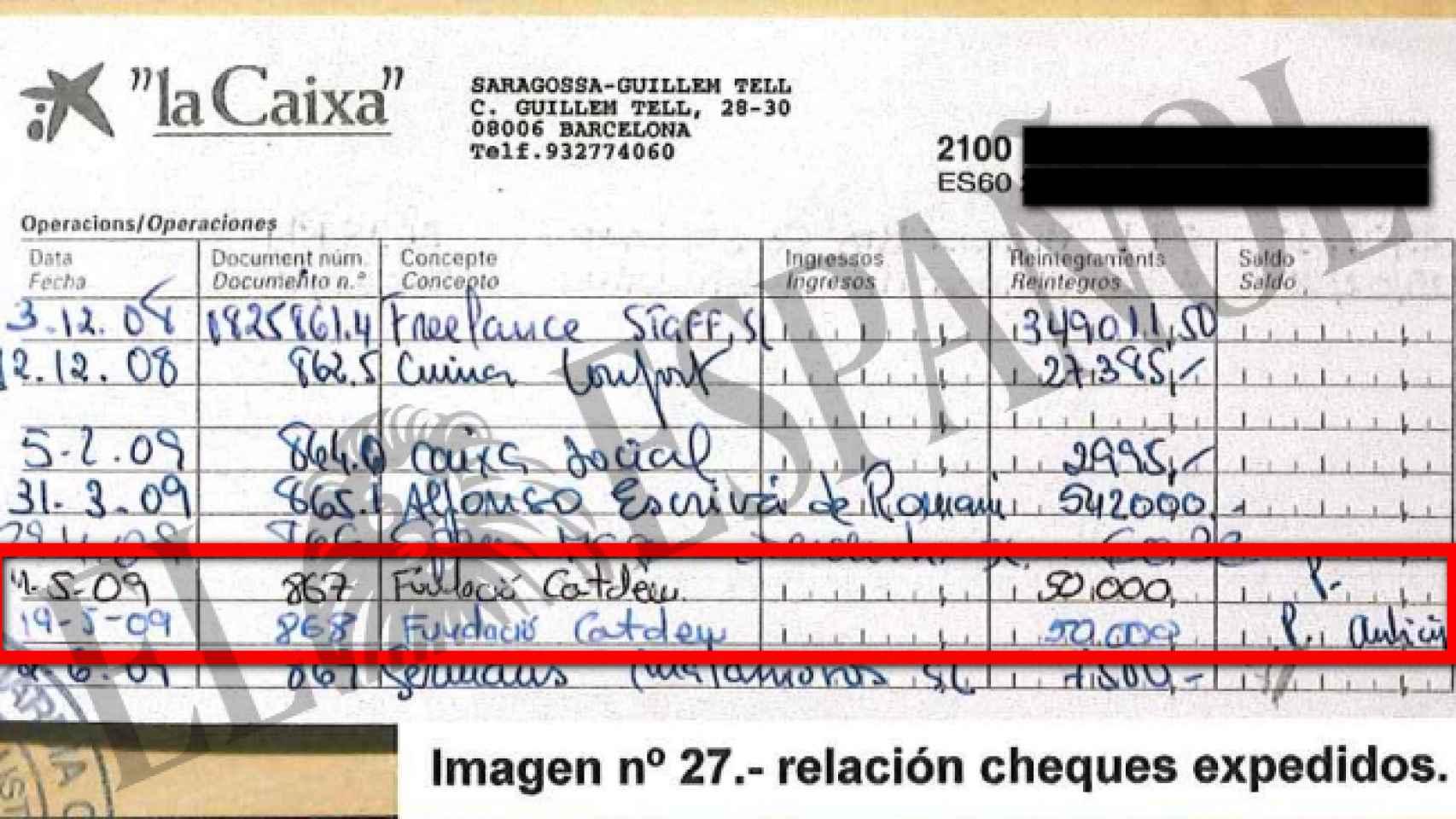 Talonario con anotaciones sobre los pagos a Catdem.