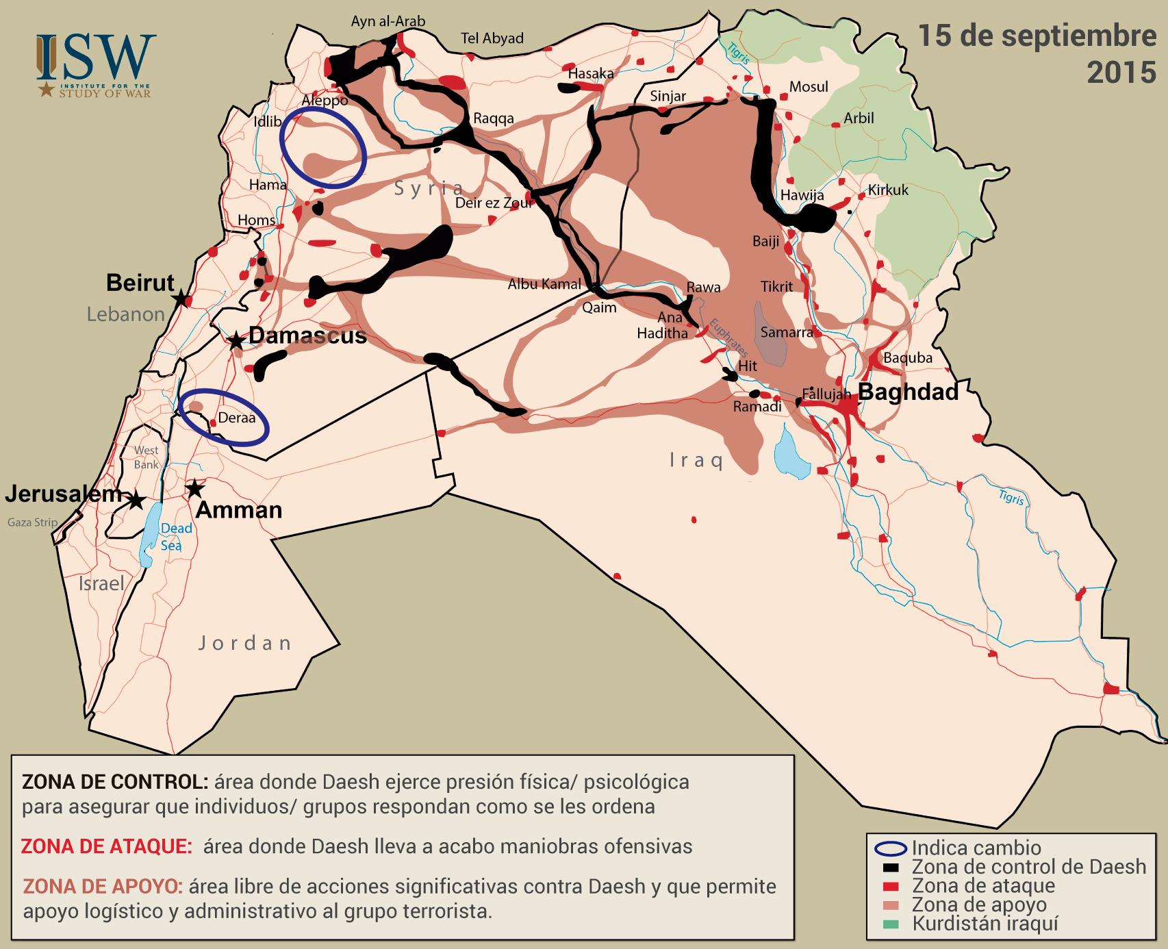 Mapa del control del Estado Islámico en septiembre de 2015.