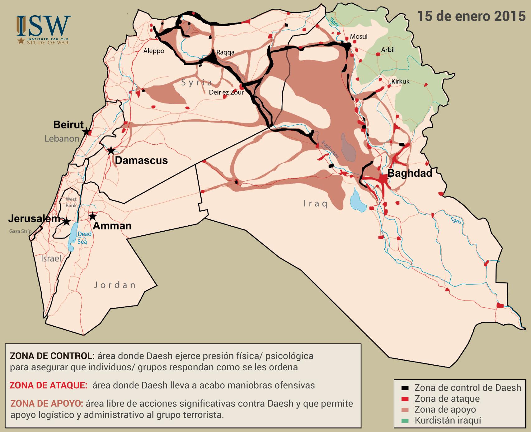 Mapa de control del Estado Islámico un año atrás, en enero de 2015.